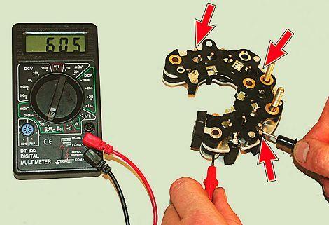 Как проверить генератор на ВАЗ-2114: мультиметр и диодный мост