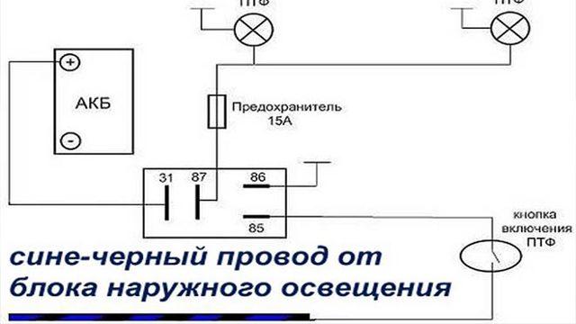 Установка противотуманок на лада гранта: схема подключения ПТФ