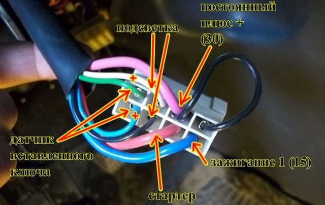 Схема подключения проводов замка зажигания ВАЗ-2114: распиновка